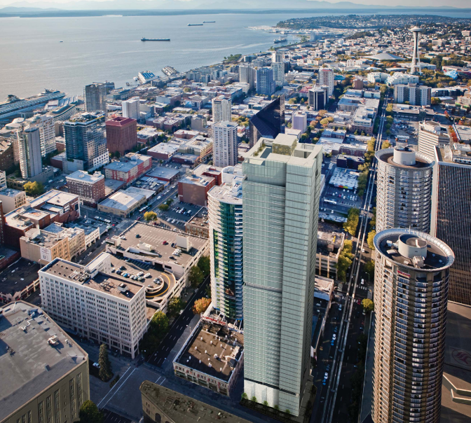 Stanford Hotels chose Nyhus to recruit government support for the land use development of a new 50-story Seattle skyscraper.